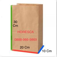 Paper Bag Brown Kraft Xtra Large /Kantong Kertas Mcd Kfc PB12 @100 Pcs