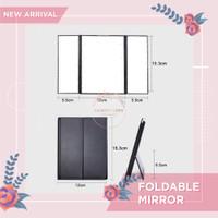 Cermin Lipat Makeup Folding Foldable Mirror LED Portable Travel