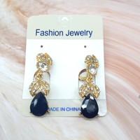 Anting Fashion Daun Batu Diamon Tetes Warna