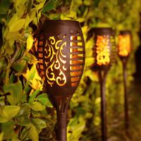 Lampu Taman Solar 12 LED Obor KC Sensor Cahaya tenaga Surya Waterproof