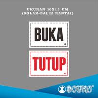 "Acrylic Sign / Papan Tanda ""BUKA-TUTUP + RANTAI"" / Ukr. 10x15 cm"