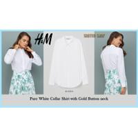 Pure White Collar Kemeja Lengan Panjang wanita Gold Button neck by HM