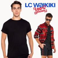 Baju Kaos Polos Branded Import Hitam Cowok Pria LC Waikiki Original