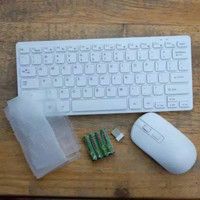 PAKET KEYBOARD WIRELESS + MOUSE WIRELESS MEREK SUNROSE T80 ORIGINAL - Putih