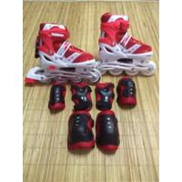 Sepatu Roda Inline Power Skate + Dekker - Merah, L