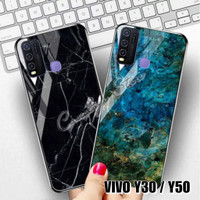 VIVO Y30 Y50 MARBLE GLASS CASE VIVO Y30 Y50 CASING VIVO Y30 Y50