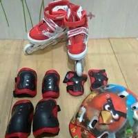 Sepatu roda + Dekker + Helm S M L Set - Merah, L