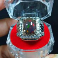 Cincin Batu Black Opal Kalimaya High Quality