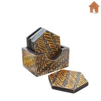 Coaster Kayu Batik / Tatakan Hexagonal Box D9 x 6pcs.