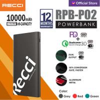 RECCI PowerBank PD+QC3.0 18W Dual Output RPB-P02 Hijau/Abu-abu/Merah - Merah