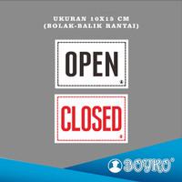 """Acrylic Sign / Papan Tanda """"OPEN-CLOSED + RANTAI"""" / Ukr. 10x15 cm"""