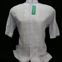 Grosir Baju Koko Muslim Pria Dewasa Lengan Pendek Putih Bordir Senada - Putih, S