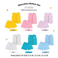 Sleeveless Button Set Setelan Kutung Mooi