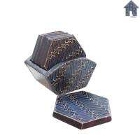Coaster Kayu Batik / Tatakan Hexagonal D9 x 6pcs.