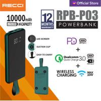 Recci Power Bank Led Wireless Suction Cup RPB-P03 10000Mah Hijau/Hitam - Hijau
