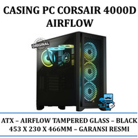 Casing PC Corsair 4000D Airflow Tempered Glass ATX Case - Black