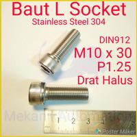 Baut L M10 x 30 P1.25 Halus SUS304