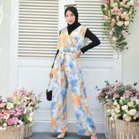 macaron tie dye jumpsuit full colours/jumpsuit wanita hijab friendly