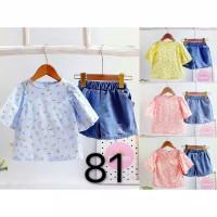 Baju Setelan jeans import anak perempuan 1 - 3 Tahun