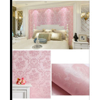 Polos Pink Damask Flower 45cm x 10m ~ Wallpaper sticker dinding