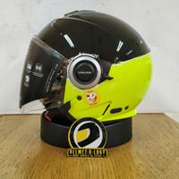 Helm Retro Klasik Modern Airoh Helios Fluo Yellow Double Visor SNI ECE