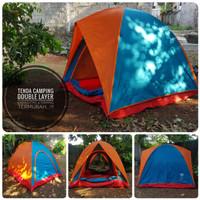 Tenda Camping Dome 2 Pintu Double Layer Kap 4 Merek Silver Green