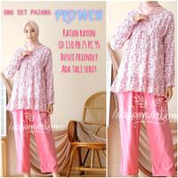 daily set long pajamas FLOWER setelan busui panjang