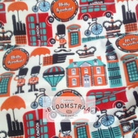 Kain Kanvas Hello London Bus Inggris vintage Canvas fabric london