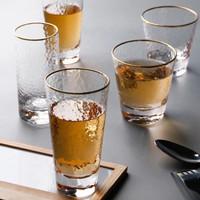 Gelas Minum Kaca - Jane Transparent Glass / Cup / Mug Gold Rim - Type 2