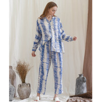 Anna Set in Light Blue - Sleepwear / Piyama Baju Tidur Rayon by RAHA