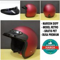 Helm Bogo Retro Dewasa + Pet/ Topi Helm Bogo - merah dof