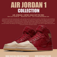 SEPATU AIR JORDAN 1 RETRO HIGH DIP TOE RED AH7389607 ORIGINAL SNEAKER - 42.5