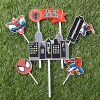 topper hiasan kue ulang tahun happy birthday karakter spiderman