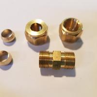 Conector Union 8mm kuningan + cincin + nut