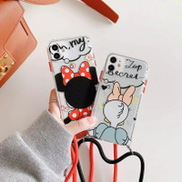 CASING HP IPHONE 7 8 X 11 PRO MAX MINNIE MOUSE DAISY PHONE STRAP TALI