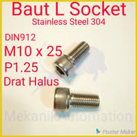 Baut L M10 x 25 P1.25 Halus SUS304