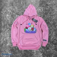 jaket anak bt21 hoodie sweater best seller - pink, M