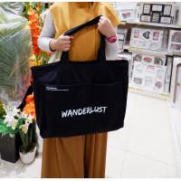 Wanderlust Think Pink Grocery Shopping Bag Tas Belanja Kanvas Black