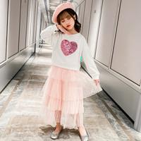 Baju Setelan Anak Perempuan Import Sweater Putih Rok Tutu Tile Pink