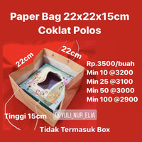 Paper Bag 22x22x15cm Coklat Polos