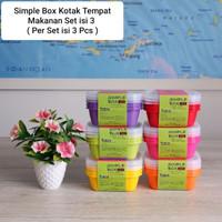 Simple Box 500 Warna Sealware Kotak Serbaguna Tempat Makanan Set Isi 3