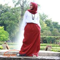 Rok Celana Panjang Muslimah Bahan Wolfis Woolpeach Merah Motif Batik