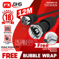 12m Kabel Antena TV Parabola CCTV Coaxial Cable Male to Male PX