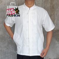 Baju Koko Pria Muslim Size M L XL Lengan Pendek Katun Putih Anma