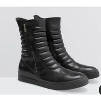 Sneakers Motor Cross Pria / Sneakers Boots Kulit Pria Trail Boots - Hitam