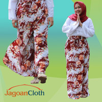Rok Celana Panjang Muslimah Bahan Wolfis Woolpeach Motif Bunga Orange