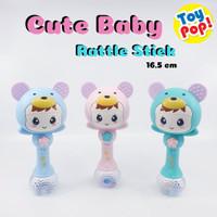 Mainan Bayi Tongkat Rattle Toy dengan Teether Lampu LED dan Musik! - Biru
