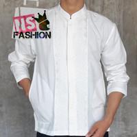 Baju Koko Pria Muslim Size M L XL Lengan Panjang Katun Putih Amrun - Broken White, XL