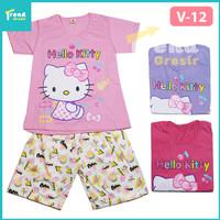 Setelan Pendek Hello Kitty / 7-10 tahun / Baju Tidur Anak Perempuan - 7-8 Tahun, V-12 Pink Muda