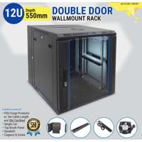 """INDORACK WIR5512D - 12U Wallmount Rack Depth 550mm Double Door 19"""""""